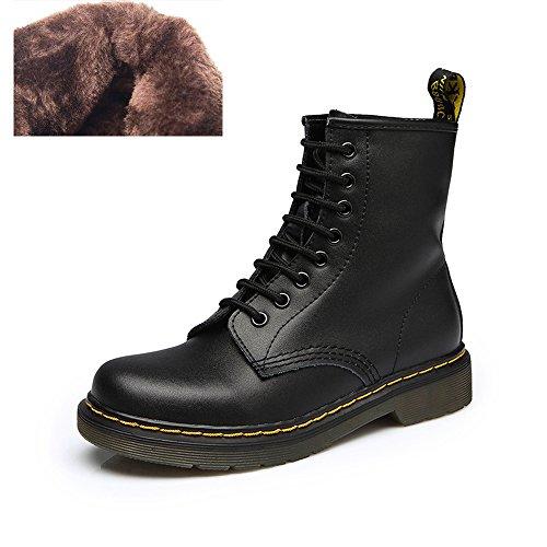 uBeauty - Bottes Femme - Martin Bottes - Boots Flattie Sport - Chaussures Classiques - Bottines À Lacets Velours Noir B