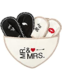 Levivo Juego de 5 piezas, zapatillas Mr. & Mrs. de fieltro, para él y para ella, bolsa corazón