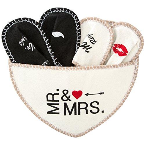Levivo ciabatte mr. & mrs, set da 5 pz. in feltro, per lei e lui, borsa a forma di cuore, tessuto, bianco, 30x20x10 cm