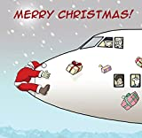 Twizler Weihnachtskarte mit Weihnachtsmann, Flugzeug und Geschenken,lustige Weihnachtskarte, für Männer und Frauen geeignet