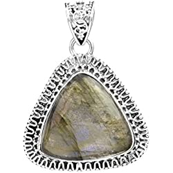 Exotic India Gemstone Triangle Pendant with Filigree - Sterling Silver - Color Labradorite