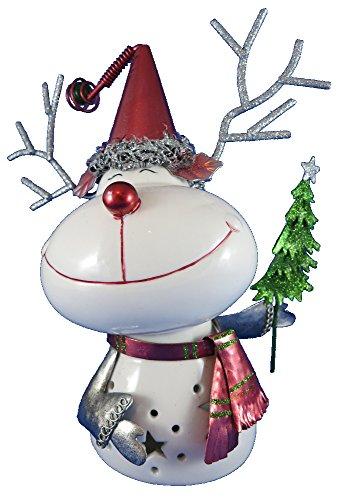 Dekofigur Weihnachtsrentier 20cm aus Keramik und Metall - Rudolph mit der roten Nase - Weihnachtselch - Weihnachtsreh