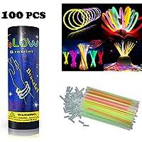 HHD® Lot de 100 Bâtons lumineux fluorescents, Glowsticks, Fluos Lumineux! Bracelets fluorescents lumineux, 7 couleurs différentes avec connecteur ! Couleurs tendance! 200mm x 6mm. Idéal pour le fête!