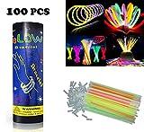 HHD 100 Knicklichter, Leuchtsticks, Glowsticks, Neon leuchtend.Armbänder fluoreszierend, leuchtend, 7verschiedenen Farben mit Anschluss.Trendige Farben.200mm x 6mm.Ideal zum feiern.