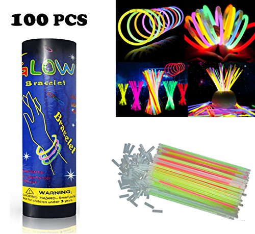 HHD® 100 Knicklichter, Leuchtsticks, Glowsticks, Neon leuchtend.Armbänder fluoreszierend, leuchtend, 7verschiedenen Farben mit Anschluss.Trendige Farben.200mm x 6mm.Ideal zum feiern.