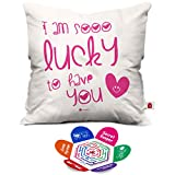 Indigifts Micro Satin Lucky to Have You Printed Cushion Cover with Filler(Multicolour)