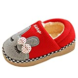 TAIYCYXGAN Kleinkinder Winter Warm Hausschuhe Pantoffeln Baby Jungen Mädchen Cartoon Kuschelige Slippers Winter Plüsch Hausschuhe Anti-Rutsch Indoor Schuhe Rot 14-15