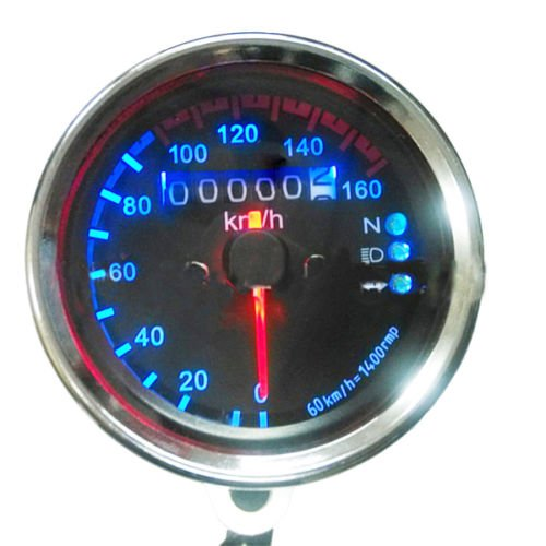 Yosoo Universal Motocicleta Odómetro KMH Velocímetro Medidor de Luz de Fondo LED Dual de Señal