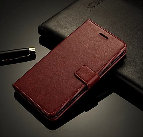 Pk ONEPLUS 6 Premium Leather Back Cover | Classic Magnetic Flip Wallet Case | Flexible Kickstand and Card Slots |