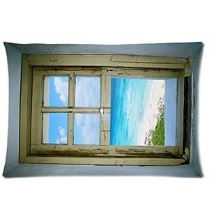 Betsey Shockley Fashion Taie d'oreiller 40 x 60 cm (2 Taille), de Cozumel Celarain Design phare fenêtre, Mexique