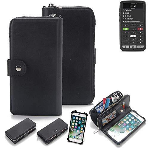 K-S-Trade 2in1 Handyhülle für Doro 8031C Schutzhülle & Portemonnee Schutzhülle Tasche Handytasche Case Etui Geldbörse Wallet Bookstyle Hülle schwarz (1x)