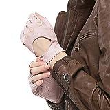 Nappaglo Damen klassisch Halbfinger Lederhandschuhe für fahren Fingerlose Lammfell Fitness Outdoor ungefüttert Handschuhe (M (Umfang der Handfläche:17.8-19.0cm), Rosa)