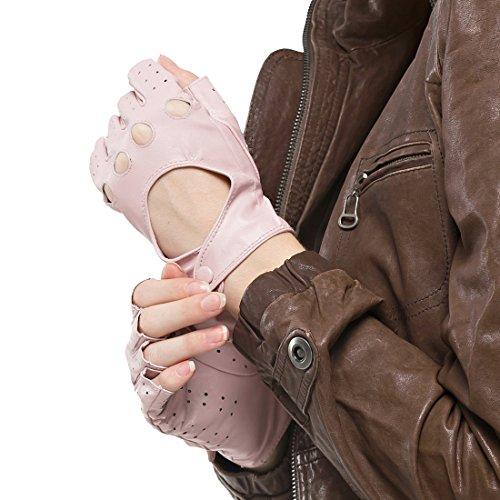 Nappaglo Damen klassisch Halbfinger Lederhandschuhe für fahren Fingerlose Lammfell Fitness Outdoor ungefüttert Handschuhe (M (Umfang der Handfläche:17.8-19.0cm), Rosa) (Fingerlose Rosa Handschuhe)