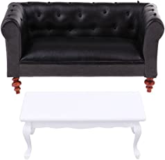 MagiDeal Handcrafts Miniature Black Leather Sofa White End Table Furniture for 1/12 Dolls House Decoration