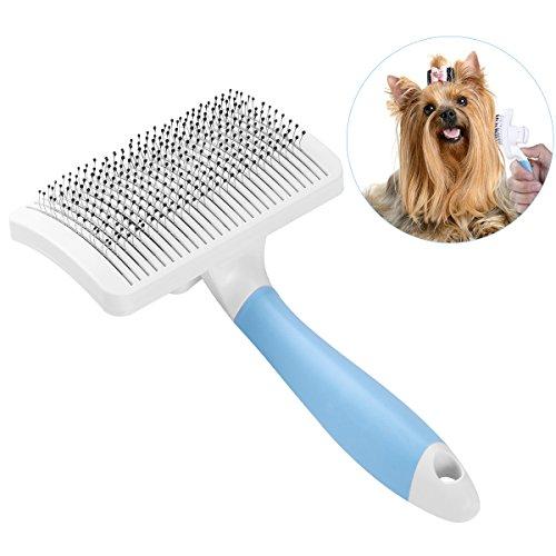 UEETEK Hundebürste Katzenbürste,Selbstreinigende Slicker Bräutigam Bürste Hundekamm Hund Enthäuten Bürste mit einem Knopf zum Entfernen von langen / kurzen Haaren -