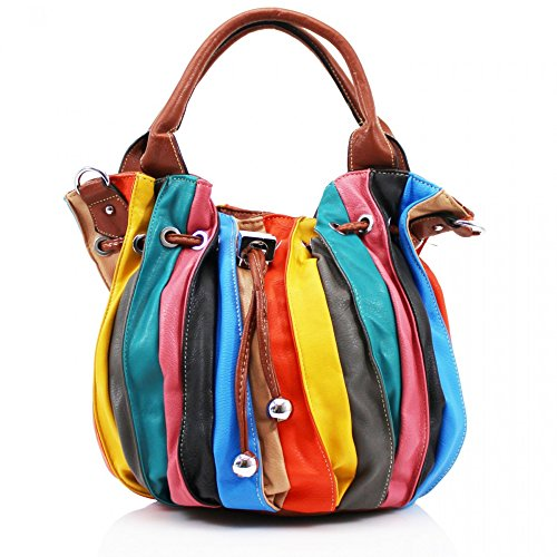 LeahWard® NEW Damen Berühmtheit Stil Drawstring Taschen Damen Groß Schulter HandTaschen 509 Groß Taschen-Braun (40x20x50cm)