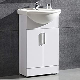 Aica Bathroom Vanity Basin Unit Cloakroom Free Standing Undersink Storage Cabinet Furniture 500mm White