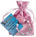Personalisierte Schnullerkette mit Namen aus Holz in Rosa für Mädchen | verschiedene Designs verfügbar| perfektes Baby-Geschenk zur Geburt und Taufe (Design3)