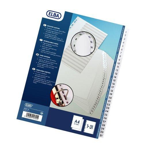 ELBA A4Indizes mit 1-31mit Tab-Weiß (20Stück) - 5 Tab Weiß Teiler