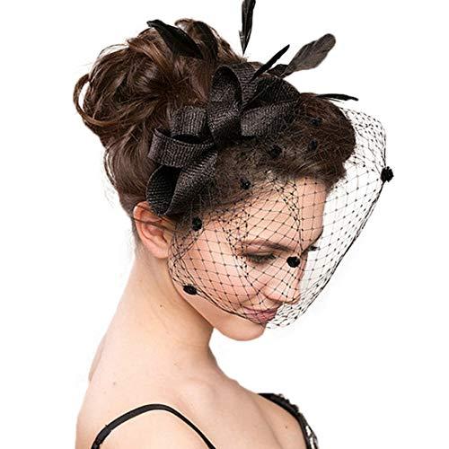 TOBEEY ❣ Fascinators für Frau Braut Hochzeit Hüte Partei Spitze Patchwork Blume Sinamay Federhut