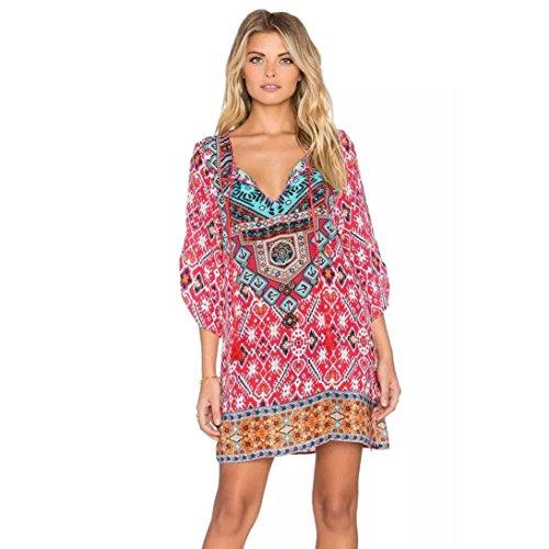 Hot! Damen Kleid Yesmile Frauen Damen Vintage Bohemian Strandtunika Sommerkleid Tunikakleid Bluse Strandkleid Minikleid Kleider (XL, Hot Pink)