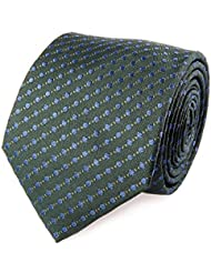 Strellson Cravate en Soie Vert Bleu points polka 7,5 cm