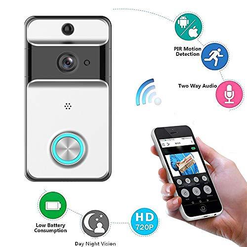 Videocitofono telecamera di sicurezza hd wifi campanello intelligente 720p, conversazione e video bidirezionali in tempo reale, visione notturna, rilevamento di movimento pir