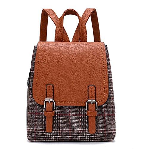 Lässig Mode Dame große Handtasche Messenger Tasche Geldbörse JYJM Frauen Mädchen Leder Rucksack Schulter Bookbags Schultasche Satchel Reise Rucksack (Größe: 22 cm (L) * 27 (H) * 12 cm (W), Braun) (Stroh Spade Kate)
