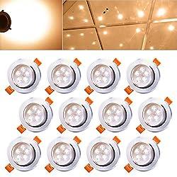 Hengda® 12 x 5W LED Warmweiß 2800-3200k LED Spot Decken Einbauleuchte Leuchte Einbaustrahler Set Lampen Leuchtmittel IP44