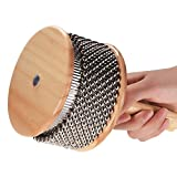 Kalaok Holz Cabasa Percussion Musikinstrument Metall Perlen Kette & Zylinder Pop Hand Shaker für Klassenzimmer Band mittlerer Größe