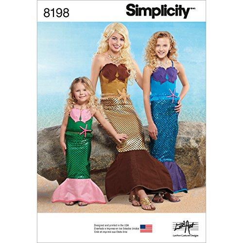2843f3bb4021 Simplicity - Modello 8198 da bambino, da ragazza e da donna sirena costumi,  taglia