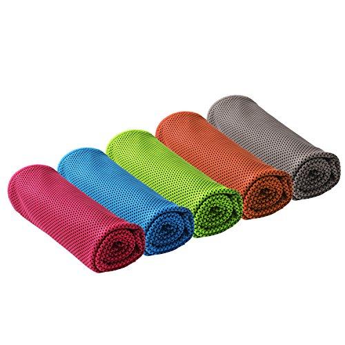 Mooouk 5 Stück/2 Stück Sofortige Kühl-Handtücher für Sport, Fitnessstudio, Sofortige Entlastung, Schnelltrocknend, kühles Handtuch für Yoga, Laufen, Wandern, Radfahren, Camping, 5 Color/Set
