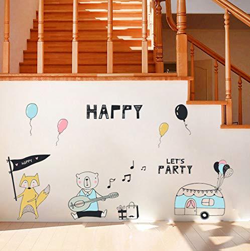 YzybzMusik Bär Fox Wandaufkleber Für Kinderzimmer Geburtstag Party Thema Wandaufkleber Dekoration Kunst Hintergrund Wandtattoos (Halloween Party Thema Musik)