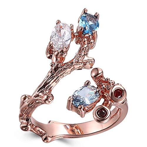 CCWANRZ Vintage Rose Gold Farbe Ring offene Enden Design Blume Pflanze Look blau und klar Zirkon Modeschmuck, 7Rings von Schmuck & Accessoires