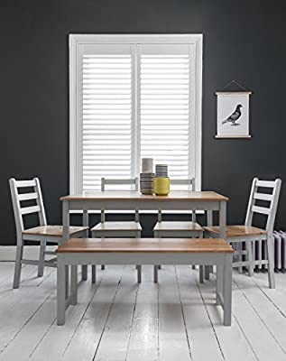 Annika Dining Table and 4 Chairs and Bench in Silk Grey and Natural Pine - cheap UK light store.