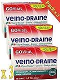 GOVITAL - VEINO-DRAINE - 3 Mois de TRAITEMENT - Lot de 3 Boites de 30 GÉLULES : circulation, action drainante, jambes légères