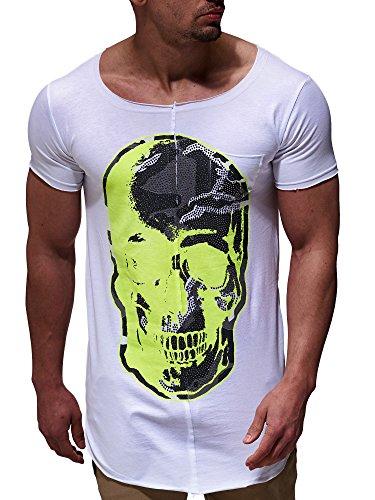 LEIF NELSON Herren oversize T-Shirt Shirt mit Totenkopf Aufdruck Nieten Rei§verschluss LN6267 Weiss-Gelb