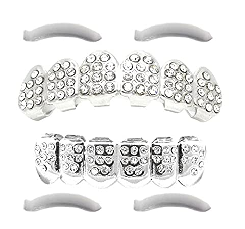 24K White Gold Plated Iced Out Grillz With CZ Diamonds + 2 EXTRA Molding Bars