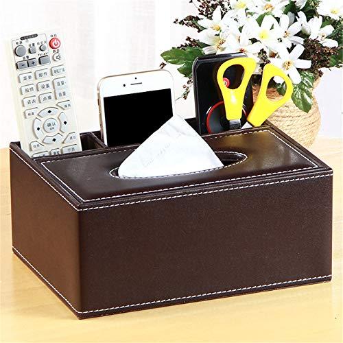 Enjoyfeel Tissue Box Cover, Multifunktions PU Leder Stift Bleistift Fernbedienung kosmetiktücherbox Lagerung Halter für Home Office Auto Automotive Dekoration (Brown, Type 1) Rattan-halter