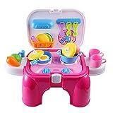 MRKE Kinderküche, 27 Stück Küchenspielzeug Zubehör Obst Gemüse Töpfe Set Geschenkverpackung für Junge und Mädchen (rot)
