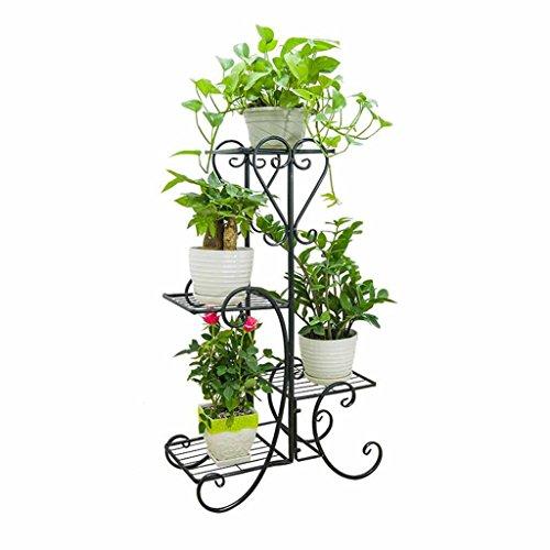 Wydm ripiano per fiori multi-strato portaoggetti da esterno per esterni in ferro battuto fioriera soggiorno vaso di fiori balcone pavimento in piedi pianta stand (colore : nero)