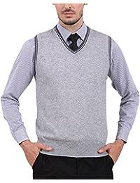 Chaleco de Suéter Hombre Color Sólido Sin Mangas Cuello en V Negocio Punto Chalecos