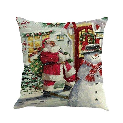 Cuscino di Christmas, Longra Buon Natale 45cmX45cm Babbo Natale stampato lenzuola Square Pillowcases (D)