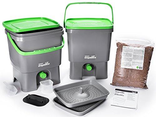 Bokashi Organico 2er Set - 2 x 16 Liter mit Ferment - Innovativer Bio Abfalleimer - Biomülleimer - Komposteimer für Küchenabfälle und Kompost (Gelb/Grün)