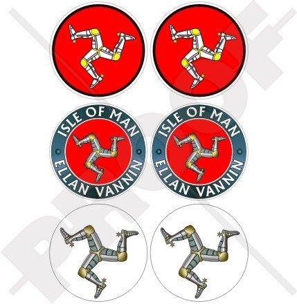 Isle Of Man TT Race Argent Triskell Mannois 40 mm (40,6 cm) Mobile, Téléphone portable, mini en vinyle autocollants, Stickers x6