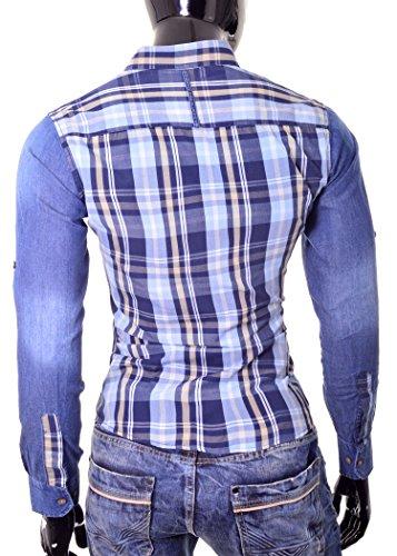 D&R Fashion Denim Hemd Holzfäller West Italian Design mit Jeans Ärmel und Karomuster Blau