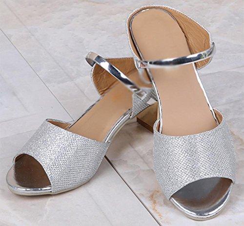 Frau hochhackige Sandalen und Pantoffel im Freien Strass Sandalen mit dick mit Fischkopf in Sandalen Silver