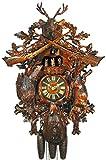 Orig. Schwarzwälder Kuckucksuhr (zertifiziert) , 8-Tage-Werk, mechanisch, Musik, Tänzer , 67 cm, 5 Jahre Garantie, Jagd, Schwarzwald