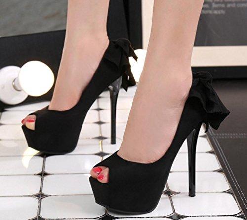 ZCH nuove donna degli alti talloni dei pesci testa della scamosciata moda impermeabile pattini delle donne farfalla nodo fine con sandali Black