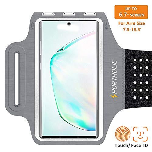 Handy Schweißfest Sportarmband für iPhone X XR XS Max,11/11 pro/11pro max,8/7 Plus,Samsung S10 S9 S8 S7 +Edge,Note 9/8/7,Huawei P30 P20 pro,LG- Premium Lycra,Mit Kabelfach/Kartenhalter(grau)